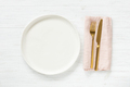 Empty Plate ang Golden Cutlery on Table. - PhotoDune Item for Sale