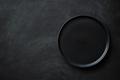 Empty Black Plate on Black Table. - PhotoDune Item for Sale