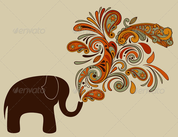 Elephant with Floral Pattern Coming from His Trunk - Nature Conceptual