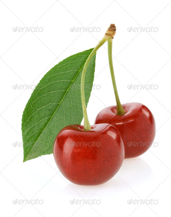 sweet cherry isolated on white - Stock Photo - Images