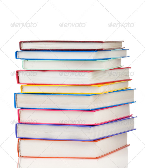 stack of colorful books isolated on white - Stock Photo - Images