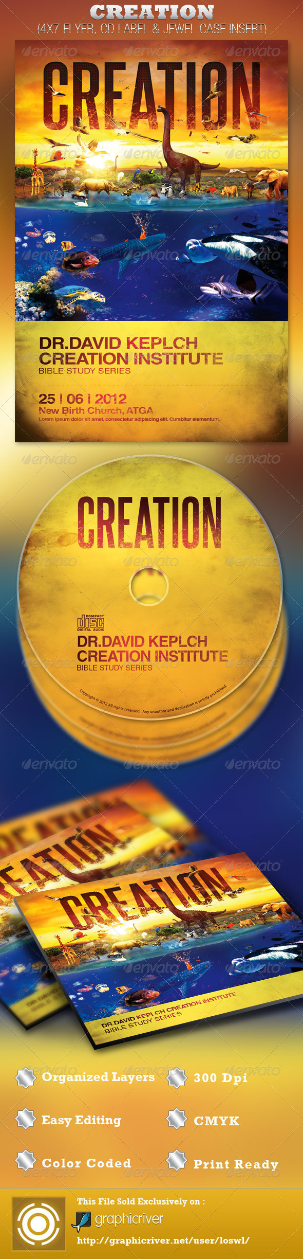 Creation Church Flyer and CD Template - Church Flyers