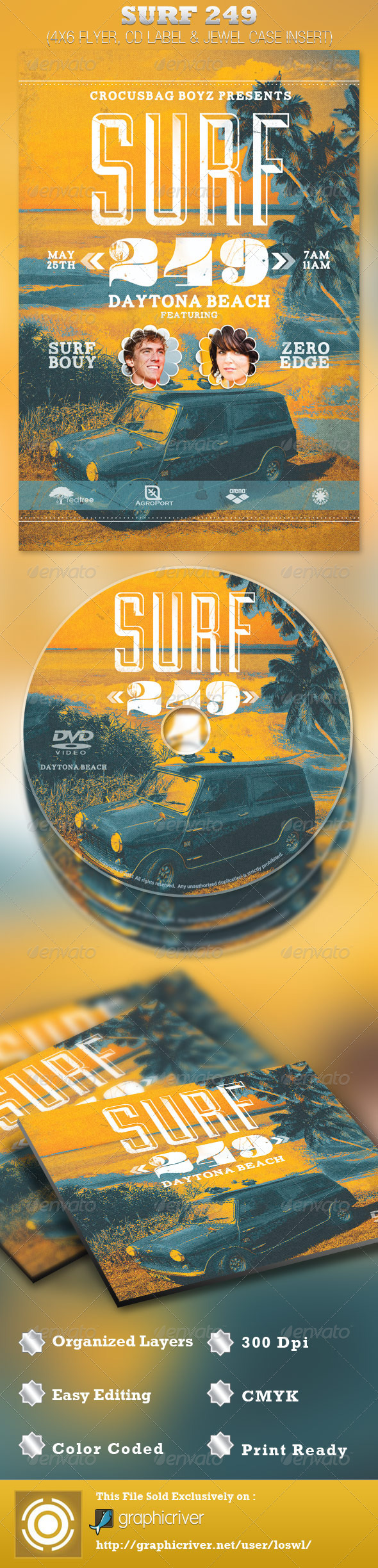 Surf 249 Flyer and CD Template - Events Flyers