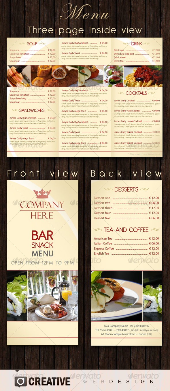 Bar restaurant menu psd by elegant creative graphicriver for Templates for restaurant menus