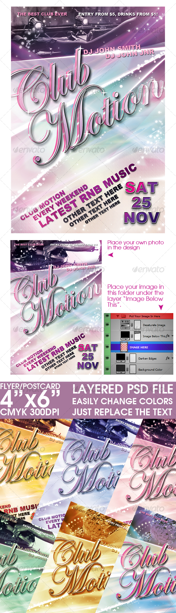Flyer/Post Card Template - Clubs & Parties Events