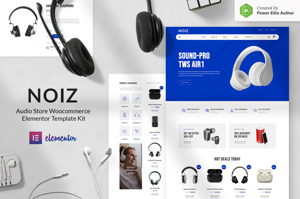 Noiz – Audio Store WooCommerce Elementor Template Kit