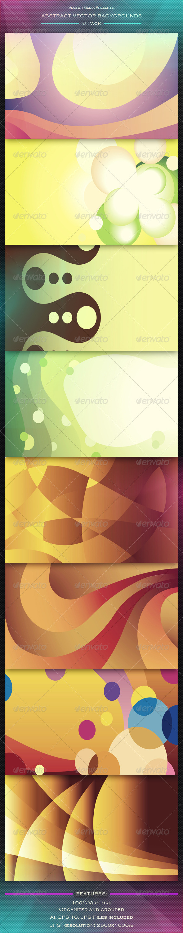 Abstract Vector Backgrounds - 8 Pack - Backgrounds Decorative