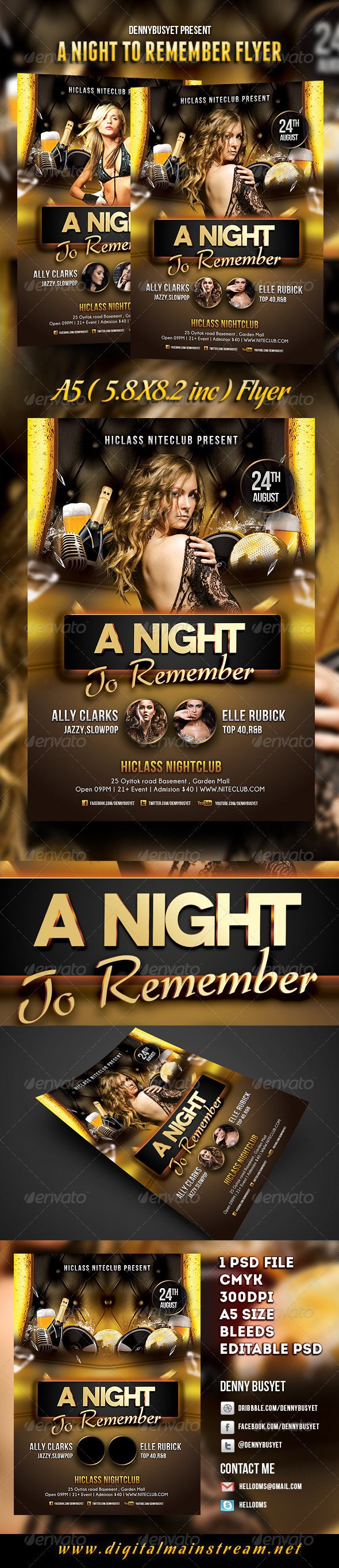 A Night To Remember Nightclub Flyer Template - Events Flyers