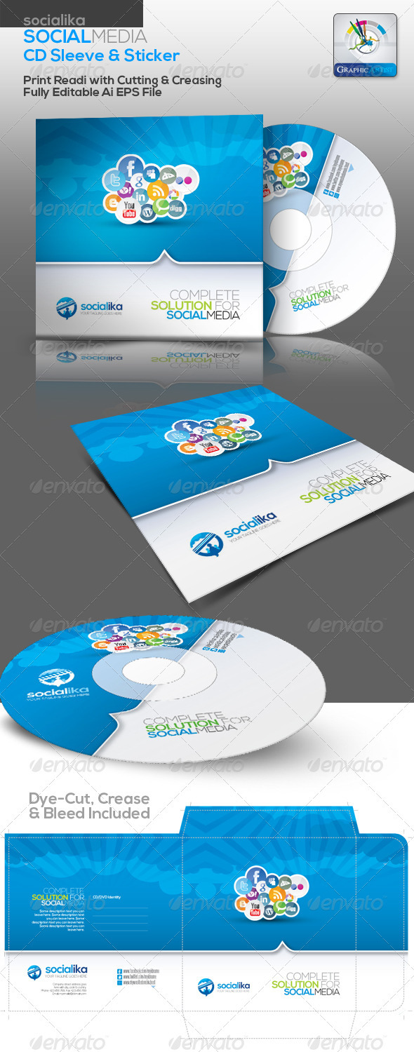 Socialika Social Media CD Sleeve & Sticker - Packaging Print Templates