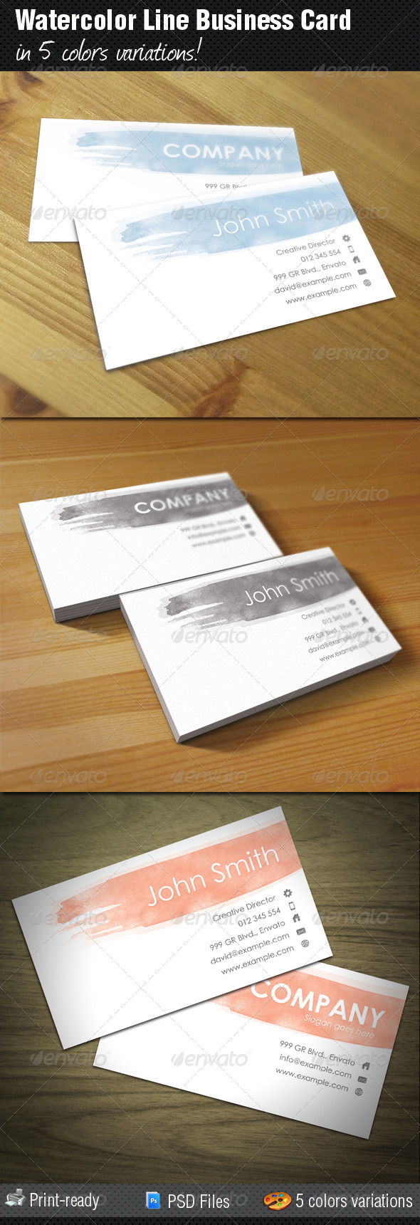 Watercolor Line Business Card - Corporate Business Cards