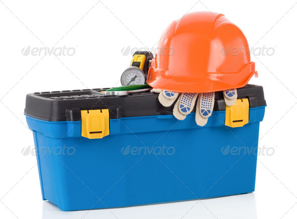 set of tools and instruments in toolbox - Stock Photo - Images