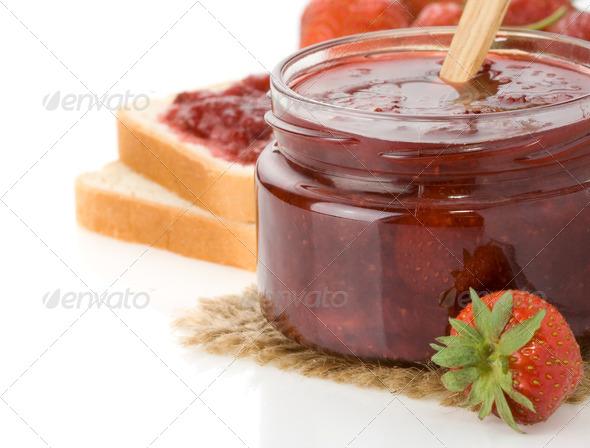 strawberry jam isolated on white - Stock Photo - Images