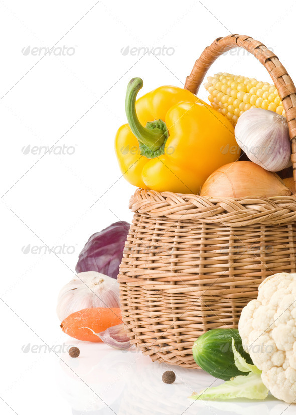 healthy vegetable food and basket isolated on white - Stock Photo - Images