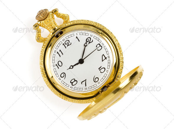 gold pocket watch isolated on whit - Stock Photo - Images