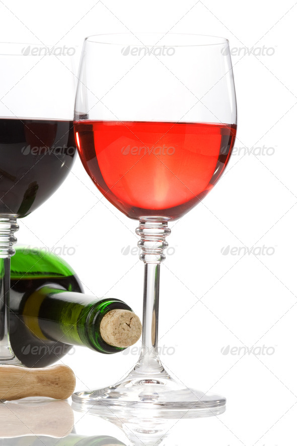 wine in glasses and bottle isolated on white  on white - Stock Photo - Images