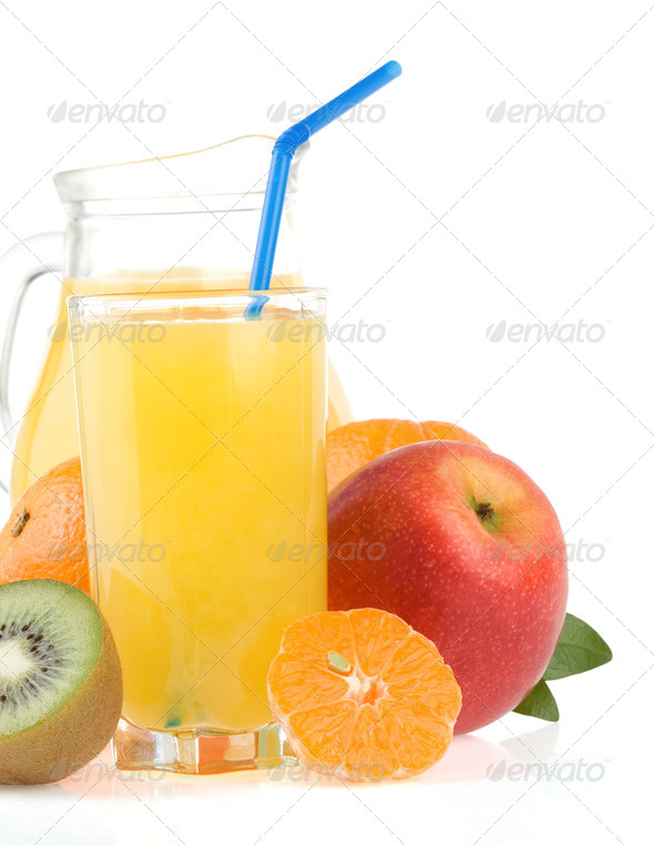 fresh tropical fruits and juice in glass isolated on white - Stock Photo - Images