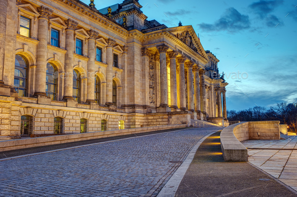 The entrance of the famous Reichstag - Stock Photo - Images