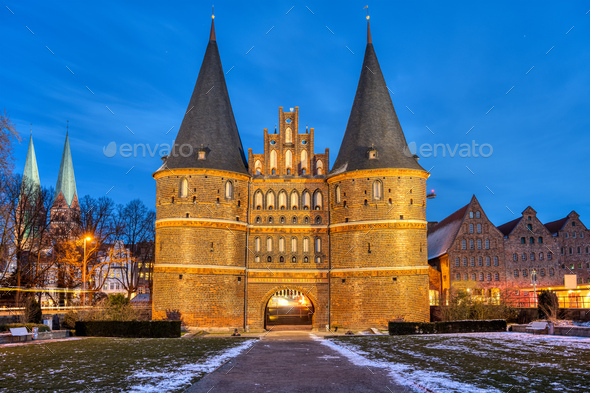 The iconic Holsten Gate in Luebeck - Stock Photo - Images