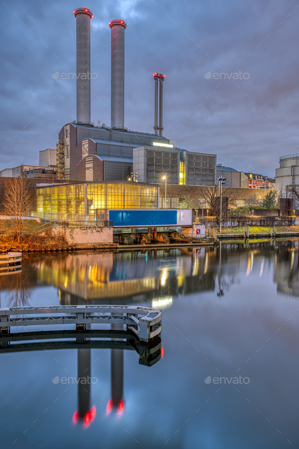 Cogeneration plant at the river Spree - Stock Photo - Images