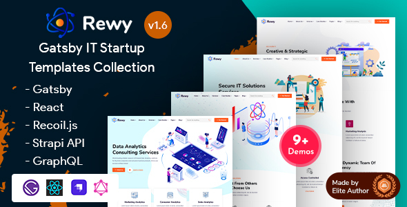 Rewy – Gatsby React IT Startup Template