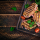 Grilled sandwich panini with ham, tomato, cheese and spinach. - PhotoDune Item for Sale