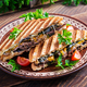 Grilled club sandwich panini with beaf, tomato, cheese and leaf mustard - PhotoDune Item for Sale