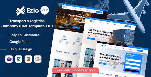 Awesome Ezio - Transport & Logistics Company HTML Template