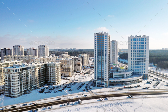 View from the height of the new microdistrict in the city of Minsk in winter.Architecture of the - Stock Photo - Images