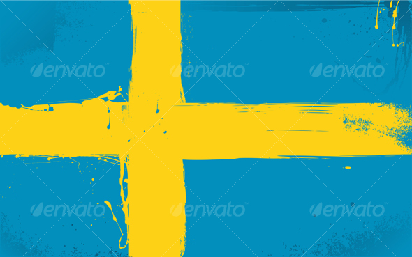 Swedish Flag Daubed With Paint  - Objects Vectors