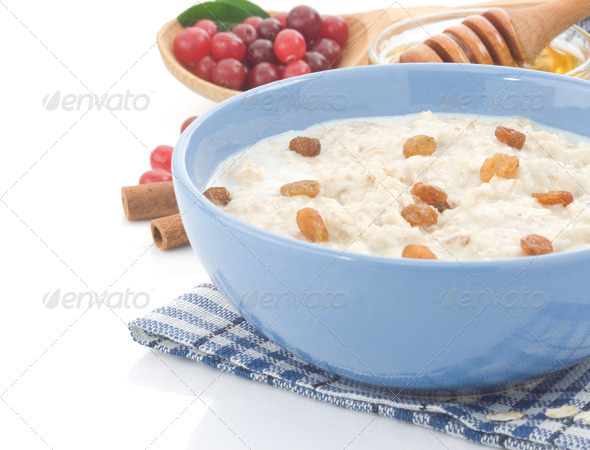 oatmeal and milk isolated on white - Stock Photo - Images
