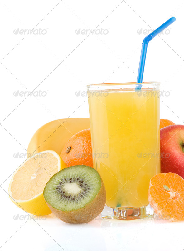 fresh tropical fruits juice in glass isolated on white - Stock Photo - Images