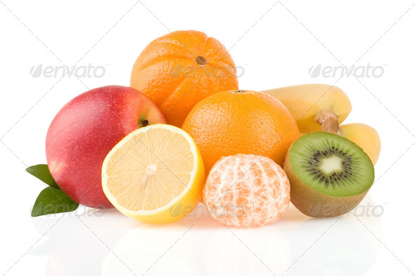 fresh tropical fruits and slices isolated on white - Stock Photo - Images
