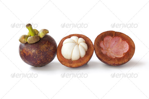 Whole and partial mangosteen - Stock Photo - Images