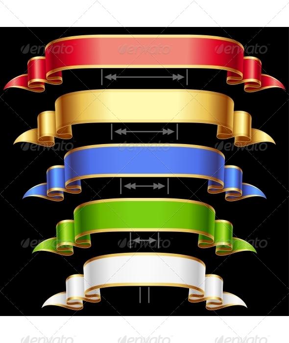 Ribbon set with adjusting length. Vector frame  - Decorative Symbols Decorative
