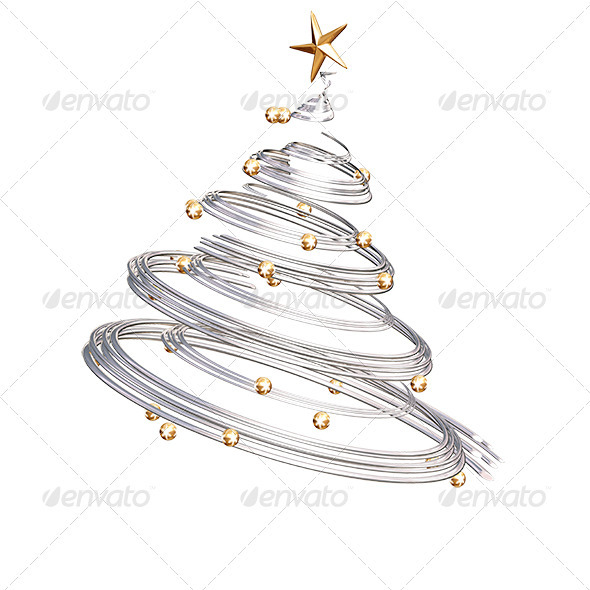 Silver Spiral Christmas Tree - 3D Backgrounds