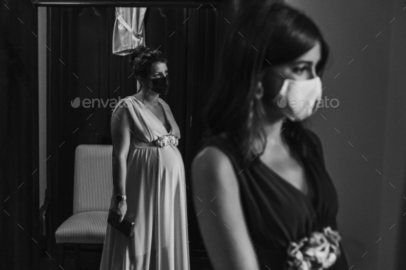 Group of bridesmaids with surgical masks - Stock Photo - Images