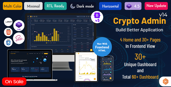 Crypto Admin – Responsive Cryptocurrency HTML Templates + Bitcoin Dashboards + ICO
