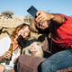 Alternative family or friends with young man and woman smiling while take a selfie with a pig - PhotoDune Item for Sale