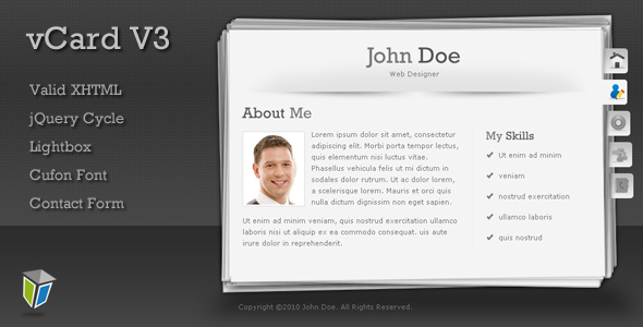 vCard3 - Unique and Professional vCard Template