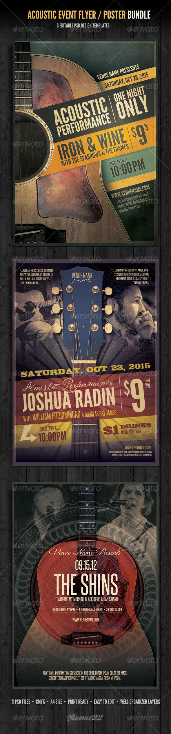 Acoustic Event Flyer/Poster Template Bundle - Concerts Events