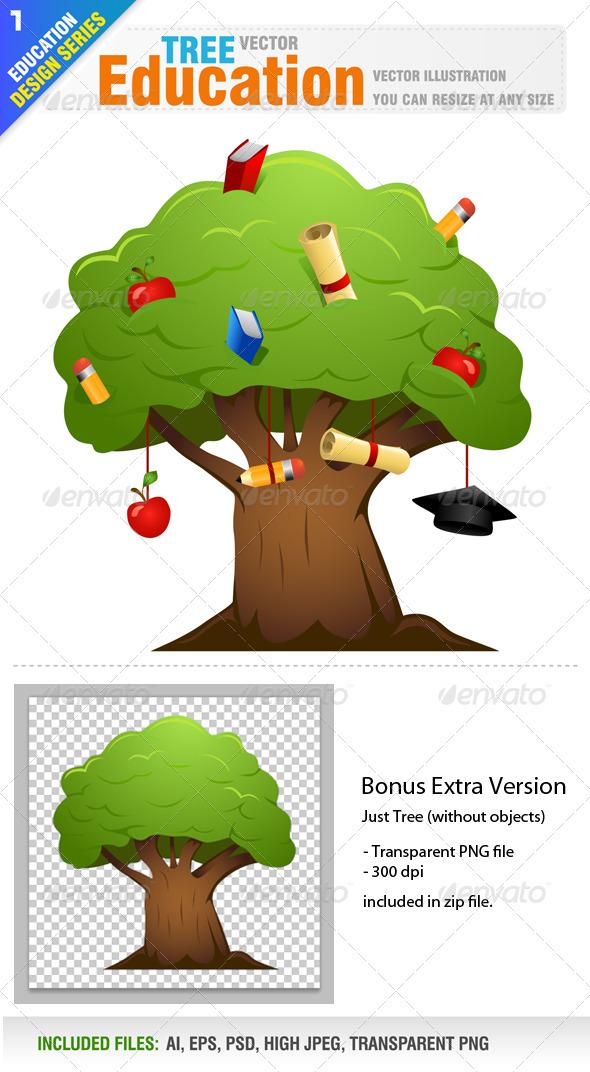 Education tree - Objects Vectors