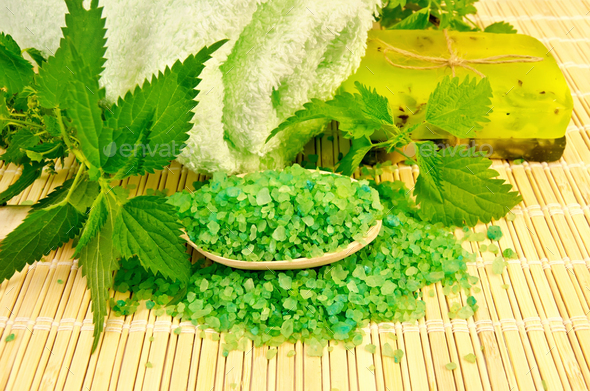 Salt and homemade soap with nettles - Stock Photo - Images