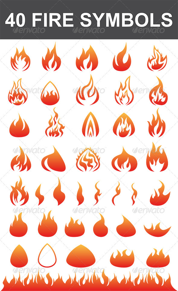 40 Fire Symbols By Nada Images Graphicriver