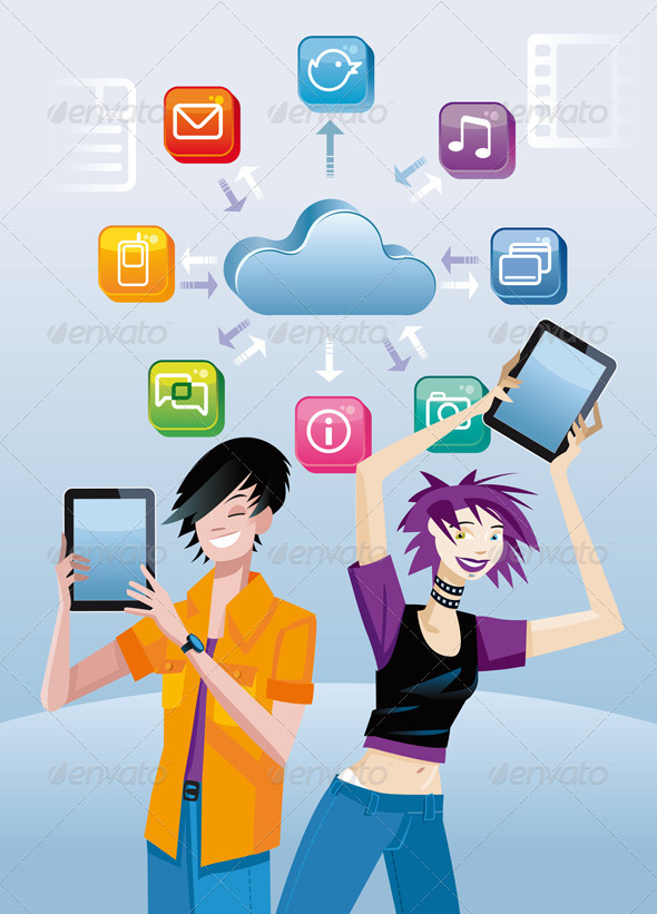 Teenager And Digital Tablets - Technology Conceptual