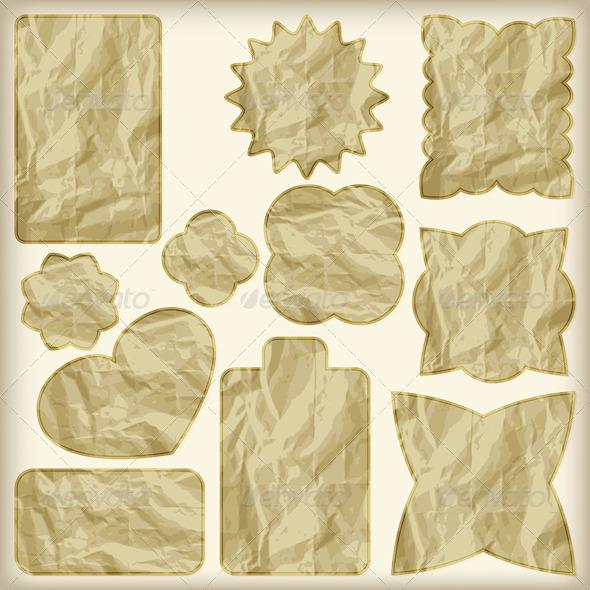 11 Golden Tags - Decorative Symbols Decorative
