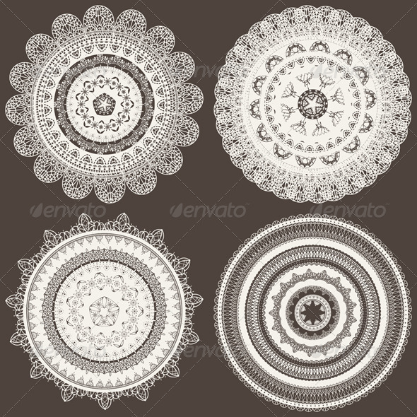 4 Vector Lacy Napkins - Decorative Symbols Decorative