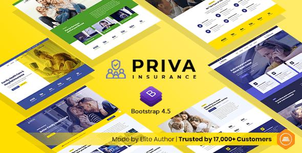 Priva – Insurance Company Website Template + RTL Support