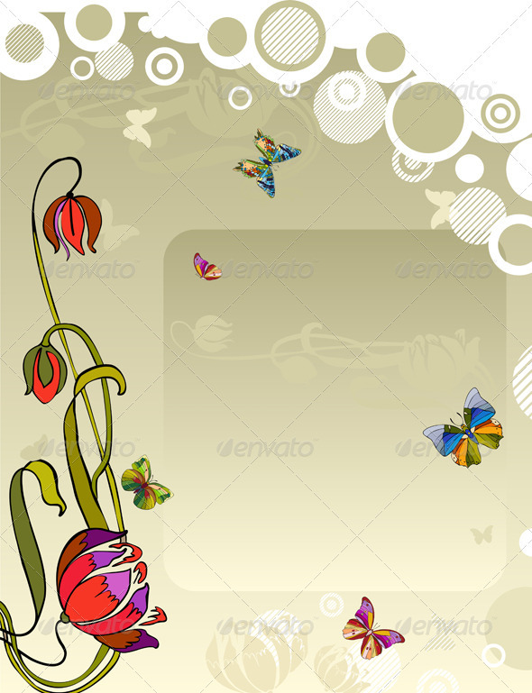 Vector Background Flower Butterfly - Backgrounds Decorative