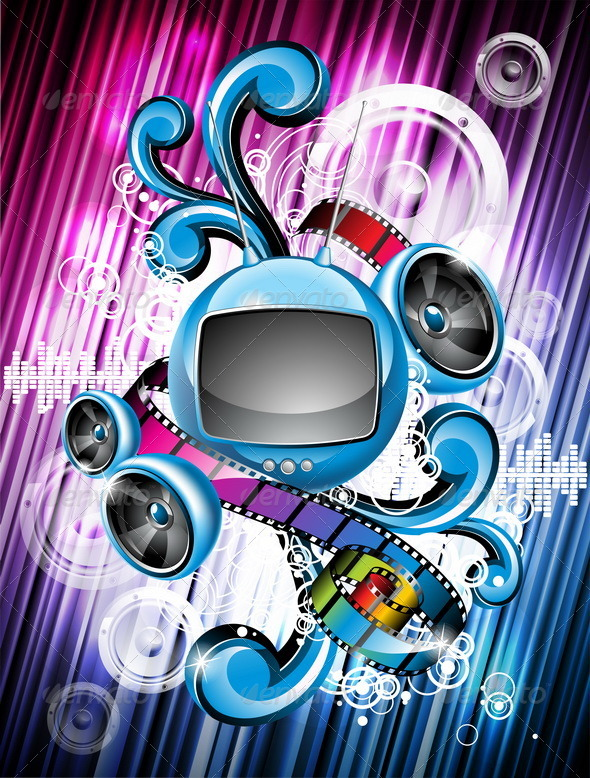 Abstract vector shiny background with speakers and - Media Technology