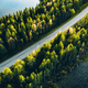 Aerial view of road between green summer forest and blue lake in Finland. - PhotoDune Item for Sale